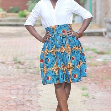 Skyblue African High Waist Ankara Skirt