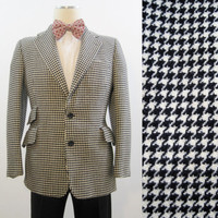 70s Jacket Men's Vintage Houndstooth Hardy Amies Fitted Blazer Ticket Pocket S