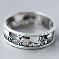 Hollow Out Elephant Ring