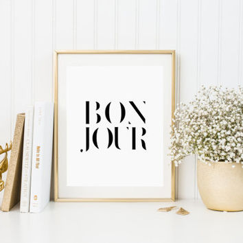 French print, french poster hello print Bonjour print bonjour poster wall decor hello poster hello art bonjour art french decor BONJOUR Art