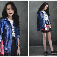 oversize denim jacket in blue,casual,loose fit,acid wash,long length,bat sleeve,fashion,unique,for spring and autumn.--E0167