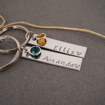 Couples Keychains, Personalized Keychains, Birthstone Keychains, Name Keychains, Couples Gift, Personalized Names, Personalized Birthstones