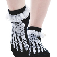 Ruffle Ankle Sock - Occult Bones