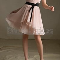 Blush pink sweetheart neckline chiffon ruched bodices with a satin sash knee length bridesmaide dress