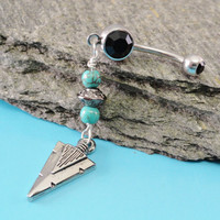 Belly Button Ring Silver Arrowhead Turquoise by MidnightsMojo