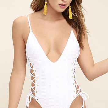 Blue Life Roped Up White Lace-Up One Piece Swimsuit