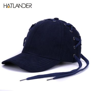 Novelty shoelace baseball caps for women men hip hop snap back hats Drake Golf personality solid suede cap