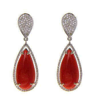 GENUINE NATURAL RED CORAL DIAMOND DROP DANGLE EARRINGS SOLID 14K WHITE GOLD