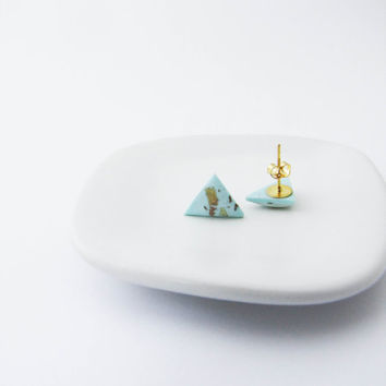 Mint gold studs . Tiny earrings Everyday Earrings, Post earrings Minimalist earrings