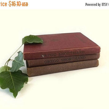 ON SALE - Gregg Shorthand Book Stack, Vintage 1940s Office Secretarial Instructional & Dictionary, Mid Century Instant Library Collection