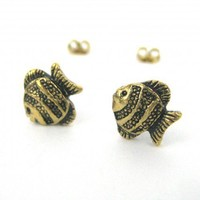 Small Fish Animal Stud Earrings in Bronze with Textured Detail