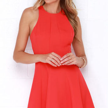 Flare Grounds Coral Red Dress