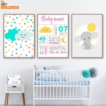 Wall Art Canvas Painting Boy Girl Birth Information Customization Nordic Posters And Prints Wall Pictures Kids Room Wall Decor