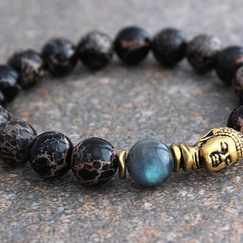 Mens Buddha Bracelet Black Friday Sale, Labradorite Bracelet w/ Black Imperial Jasper, Mens Beaded Bracelet for Man, Energy Bracelet for Him