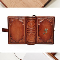 "Small brown leather journal- vintage style, 4""x5.7"", 10x14.5cm"