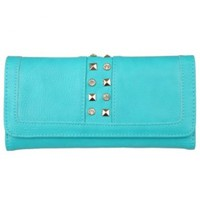 Brinley Co Womens Stud Detail Checkbook Fold-over Wallet