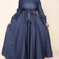 BLUE PLUS SIZE BELTED MAXI CHAMBRAY DRESS