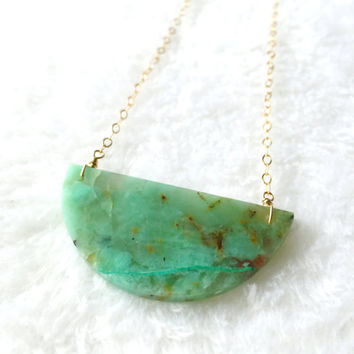 Chrysocolla Necklace, Green, Aqua, Brown Gemstone Necklace, Half Moon Necklace, Crescent, Stone Necklace, Statement Necklace, Boho Necklace