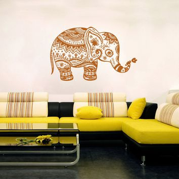 ik250 Wall Decal Sticker Decor Indian elephant floral ornament interior