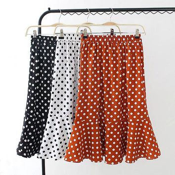 Plus size high waist dot skirt womens summer 2018 new fashion black & white & orange mermaid skirt 4XL