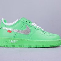 Nike AirForce 1 x OFF WHITE Air Force One Joint Multi-Color Series SHOES GREEN
