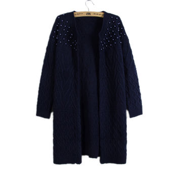 Women Beaded Cable Knitted Sweater Cardigan Outwear