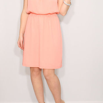 Peach dress Short Bridesmaid dress Chiffon dress Keyhole dress
