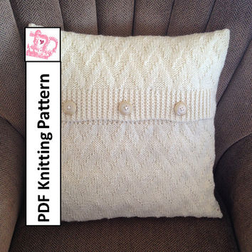 Chevron pillow cover in 2 sizes - 20x20 and 12x20 - PDF KNITTING PATTERN