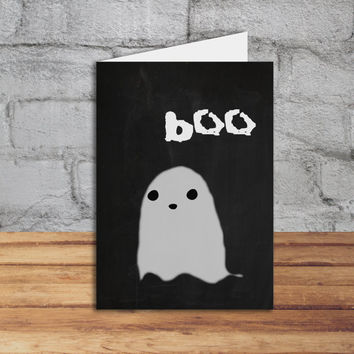 Halloween printable сard Boo! Happy Ghost Card Funny Happy Creepy Halloween Card INSTANT DOWNLOAD 5x7 DIY greeting cards Kawaii Halloween