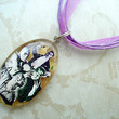 Resin Monster Mash Purple Ribbon Necklace