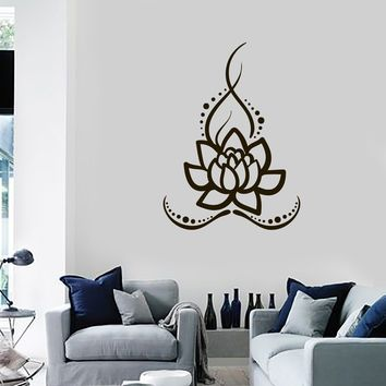 Vinyl Wall Decal Lotus Flower Meditation Room Yoga Studio Hinduism Stickers Mural (ig5447)