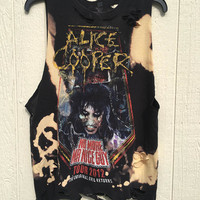 ALICE COOPER medium, bleassed, grunge, soft grunge, distressed concert tank, tee