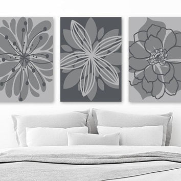 Gray Flower Wall Art, Gray Bedroom Wall Decor, CANVAS or Prints, Gray Bathroom Decor, Flower Artwork, Flower Wall Decor, Set of 3 Home Decor