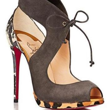 Christian Louboutin CAMPANINA Pony Snake Tie Platform Heels Sandals Shoes $1295