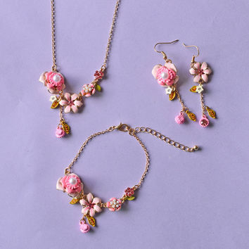 Les Nereides Elegant Fashion Pink Flower Necklace / Bracelet Bangles  / Earrings For Women Brand Party Jewelry