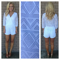 Diamond Mesh Romper - WHITE