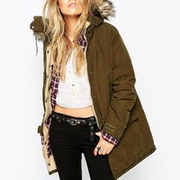 Denim & Supply By Ralph Lauren Long Parka With Faux Fur Hood