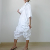 Ladies Generous Over Size, Tunic, Uniquely Styled Cowl Neck, In White Cotton Jersey.