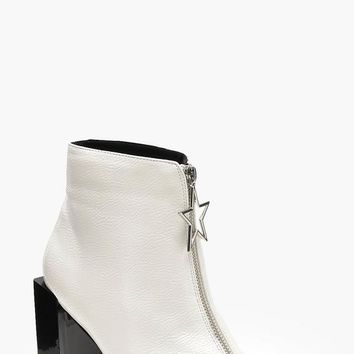 Star Trim Block Heel Ankle Shoe Boots | Boohoo