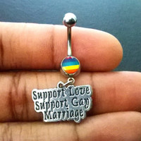 Gay pride Support Gay Love and Marriage 14 gauge stainless steel dangle belly button navel rings, body jewelry, 14g