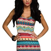 Ninimour- Sexy Fashion Women Aztec Print Celeb Inspired Tank Dress Bodycon