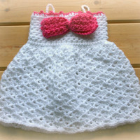 white baby crochet sun dress girls dresses girl clothes cute pink bow spaghetti straps summer shower gifts online 3 -6m