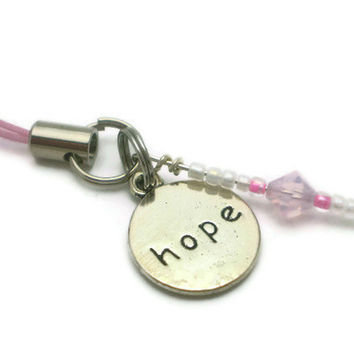 Circle of HOPE Awareness Ribbon Cell Phone Charm, Zipper Pull, Purse Charm