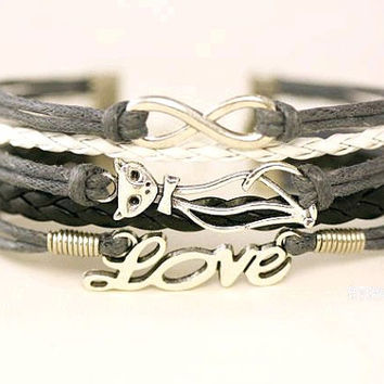 Cat Bracelet Love and infinity bracelet - Infinity wish and  Cat