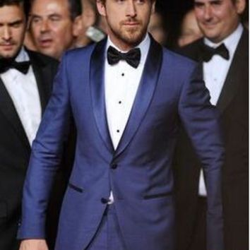 Custom Made Men 3 Piece Suit With Pants One Botton Royal Blue Groomsman Groom Tuxedos Best Man Suit Men Wedding Suits Slim Fit