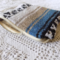 Blue and Brown Mexican Blanket Makeup Bag/ Pencil Pouch- Free Shipping to Continental US