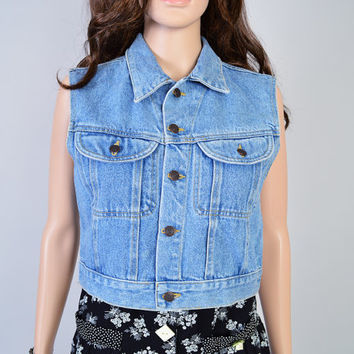 1990s Denim Top / Vintage Shirt / Cropped Fit / Festival Style / Grunge