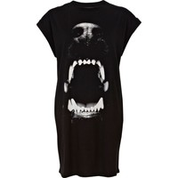 Black dog bite print t-shirt dress - t shirt dresses - dresses - women