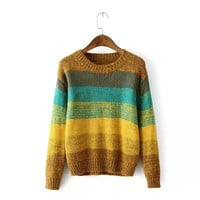 Block Stripe Knitted Sweater
