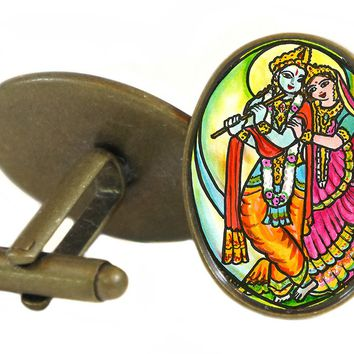 "Radha Krishna for Soul Mate Connections 1"" Oval Pair of Cufflinks"